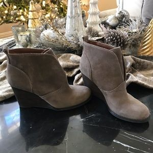 Lucky Brand Gray Suede Wedge Booties